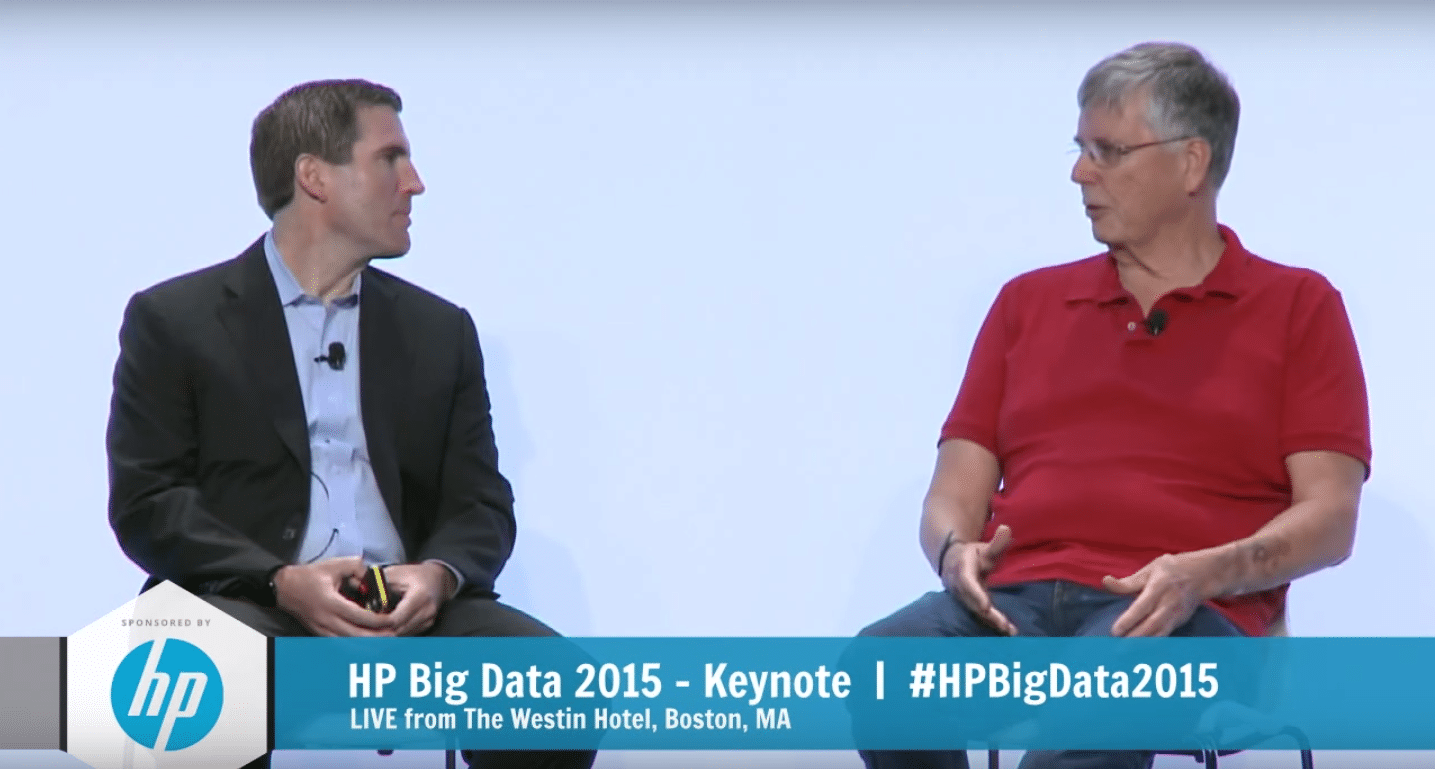 Colin Mahony, HP's SVP and GM of Big Data, and Tamr's Mike Stonebracker onstage at HP Big Data 2015